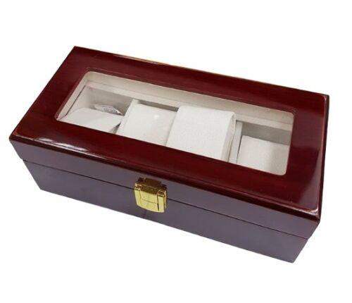 Box Scatola Cofanetto Con Vetrina Porta Orologi Bracciali In Legno 4 Posti lac