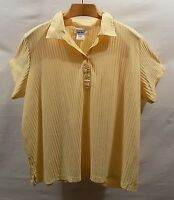 Stained ALL AMERICAN COMFORT Size 3X Butter Yellow Rib Knit Polo Shirt Top