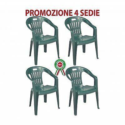 Set 4 pezzi sedia da giardino impilabile monoblocco Piona verde IPAE PROGARDEN