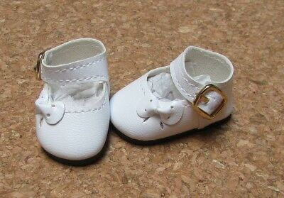 46mm WHITE Patent Ankle Straps for Ann Estelle Others Doll Shoes