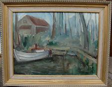 Ake Waldemar Larsson 1913 - 1995, Hütte und Boot, datiert 1945