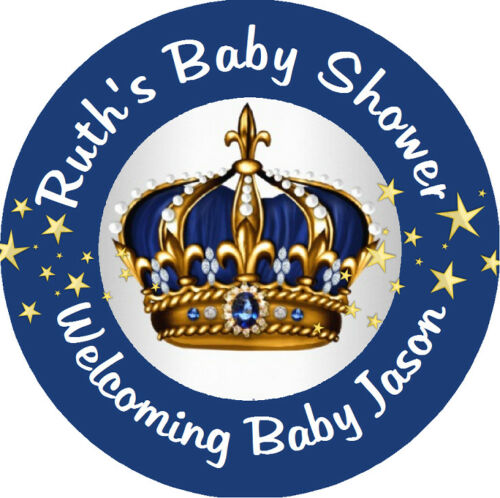 BLUE SILVER AND GOLD PRINCE CROWN BABY SHOWER ROUND LABELS PARTY STICKERS FAVORS