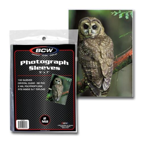 500 BCW Brand 5 x 7 Photoraph Photo Poly Sleeves 5 pack lot