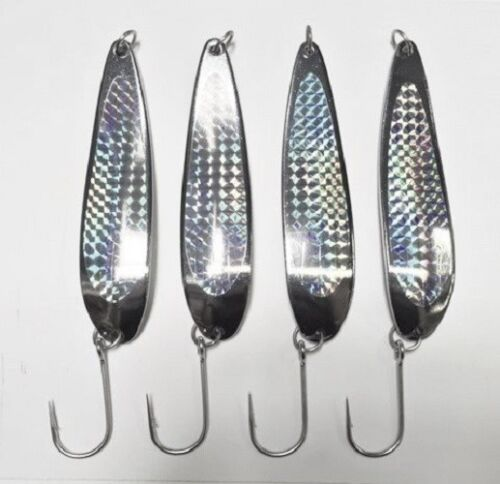 4-5oz Casting Crocodile Spoons Chrome Fishing Lures With Holographic Prism Tape
