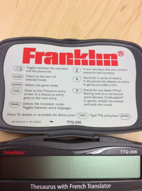 Franklin TTQ-206 Wordmaster Travel Plus Thesaurus With French Translator  2000