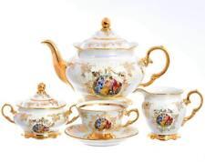 "Czech Porcelain Tea Set, ""Madonna"", 15 pc New!"