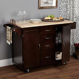 Kitchen Cart Rolling Island Storage Cabinet Drawer Shelf Wood Table Portable Bar Ebay