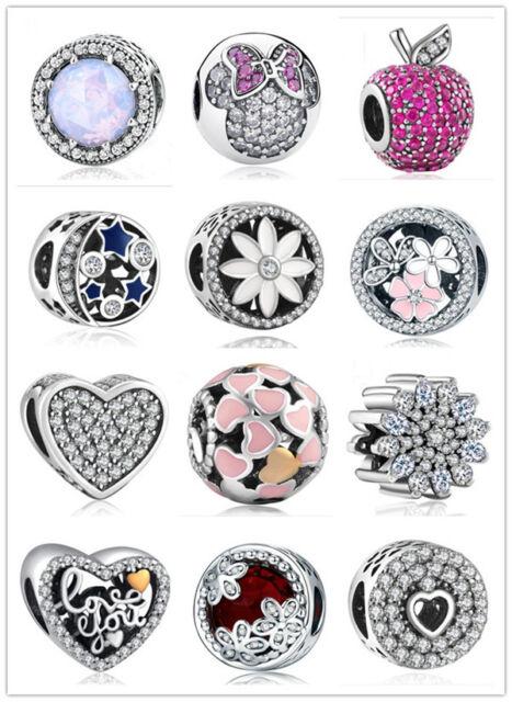 20PCS Heart European CZ Crystal Charm Silver Spacer Beads Fit Necklace Bracelet
