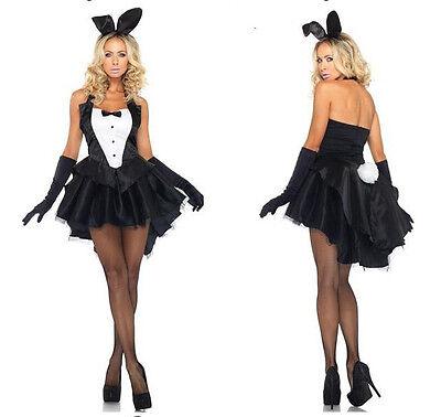 4pcs Easter Day Sexy Lingerie Bodysuit Lady Rabbit Bunny Burlesque Costume M-2XL