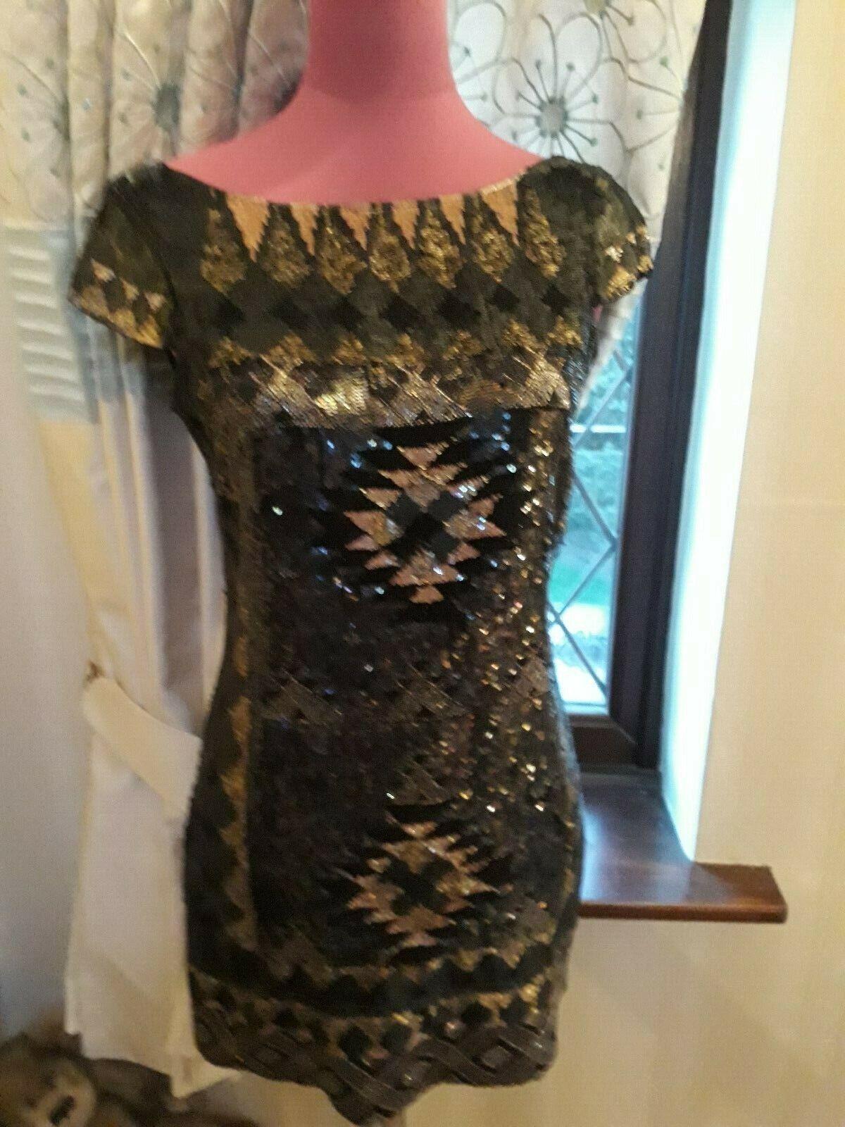 Stunning  All Saints Paloma Sequin Dress schwarz Größe 8 VGC