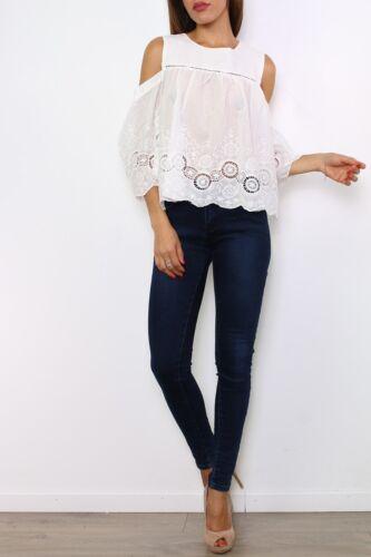 Damen Sommer Bluse Schulterfrei  Style Boho Folklore Stickerei Spitze Weiß