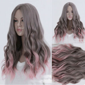 Women-Sexy-Long-Curly-Wavy-Wig-Hair-Heat-Resistant-Pink-And-Grey-Ombre-Wig-Wigs