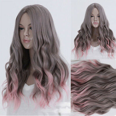 Women Sexy Long Curly Wavy Wig Hair Heat Resistant Pink And Grey Ombre Wig/ Wigs