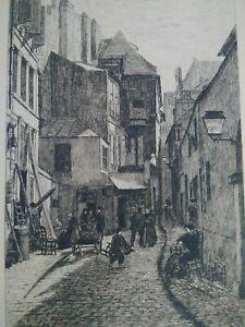 Vieux-Paris-superbe-eau-forte-XIXeme-Rue-Brisemiche-A-Trimolet-gravure-signee