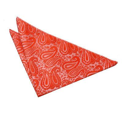 Dqt Tessuta Floreale Paisley Arancione Bruciato Formale Fazzoletto Hanky Fazzoletto Da Taschino-mostra Il Titolo Originale
