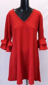 Boohoo-Women-039-s-Plus-Crepe-Ruffle-Sleeve-Shift-Dress-GS2-Red-Size-UK-16-US-12-NWT