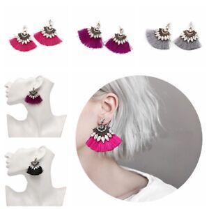 Mujer-Pendientes-largos-Aretes-gota-cristal-borla-joyeria-Ear-Stud-Earrings
