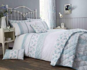 Turquoise-amp-Gris-Patchwork-Floral-Gamme-de-literie-Housse-de-couette-couvre-lit-Rideaux