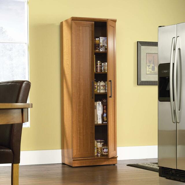 Sienna Oak 2 Door Tall Cabinet Kitchen Storage Adjule Shelf Home Organizer