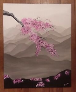 Original-japanese-gray-mountain-cherry-blossom-flowers-impressionist-painting