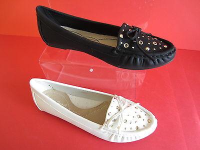 Anne Michelle l4950 Mujer Zapato Plano Blanco O NEGRO UK 4-8 (R6B)