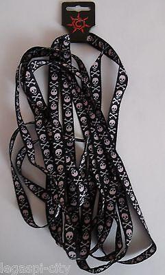 """1 Paia Di Stringhe, Shoelaces Punk, Gothic """"teschio Pirata Oversize 172x1,1cm-hoelaces Punk ,gothic """"totenkopf Pirat Oversize 172x1,1cm It-it Mostra Il Titolo Originale Ultima Tecnologia"""