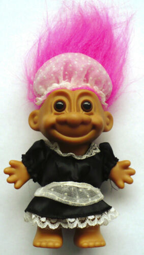 "4 12"" RUSS MAID TROLL DOLL PINK HAIR BROWN EYES"