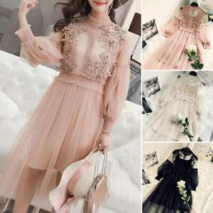 Lady-Lace-Mesh-Sheer-Dress-Mesh-A-line-Long-Sleeve-Transparent-Lolita-Dress-Slim