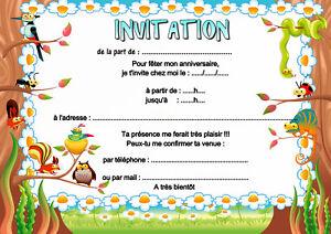 5-12-ou-14-cartes-invitation-anniversaire-animaux-de-la-foret-ref-456