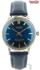Vintage Citizen Para Shock 17 Jewels Blue Dial Leather Automatic Men's Watch