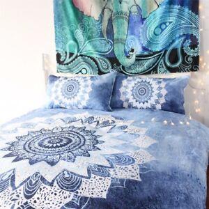 5pcs Bed in a Bag Mandala Floral Bedding Set Queen Size Bohemian Duvet Cover Set
