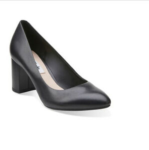 Image is loading NEW-CLARKS-Blissful-Cloud-Black-Leather-Women-Court-