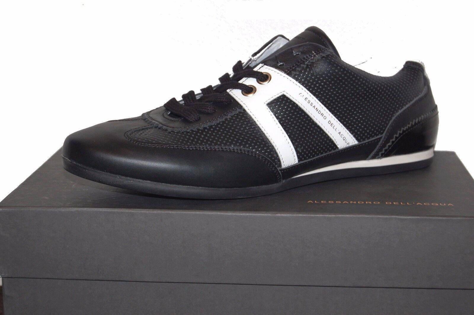 Alessandro Dell 'Acqua Homme Cuir Noir paniers Chaussures Sz US 12 EU 45  455