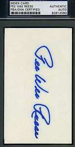 Pee-Wee-Reese-Psa-dna-Coa-Hand-Signed-3x5-Index-Card-Authentic-Autograph