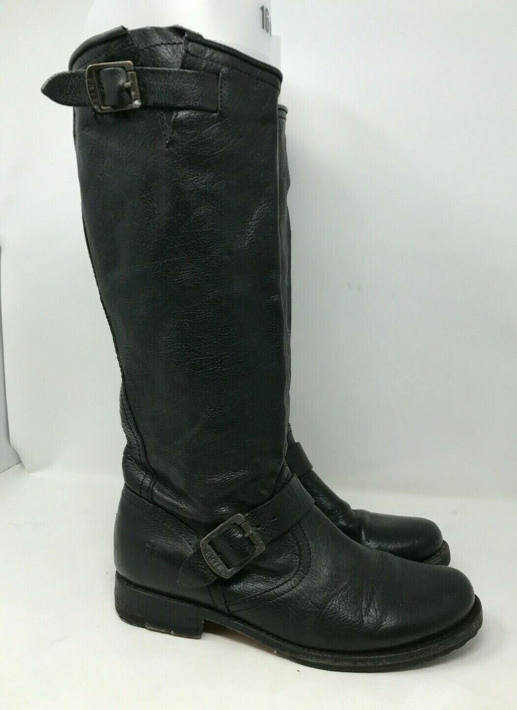 Frye Veronica Slouch sz 9.5 B Tall Black Leather Boots Double buckle riding moto