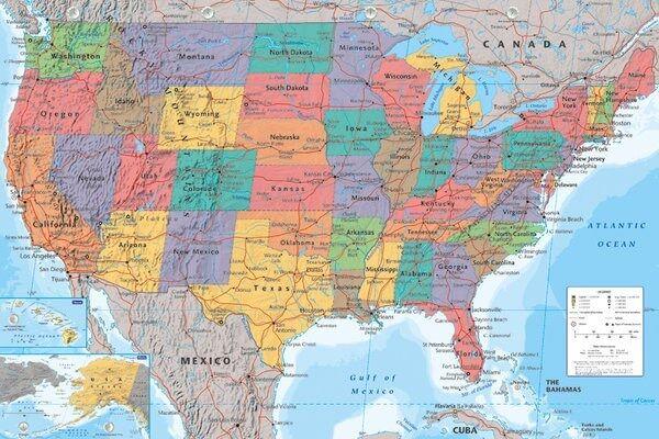 Usa Karte Geographische Maxi Poster 61x 91 5cm