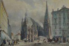 St. STEPHANSKIRCHE IN WIEN altkolor.Stahlstich  1840 von B. Winkles nach R. Alt