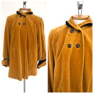 Vintage-VTG-1930s-1940s-Mustard-Yellow-Velvet-High-Neck-Swing-Coat-Jacket