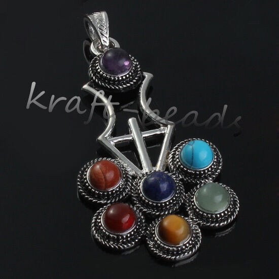 1x Charms Multiple Style 7 Beads Chakra Healing Point Stone Pendants Jewelry