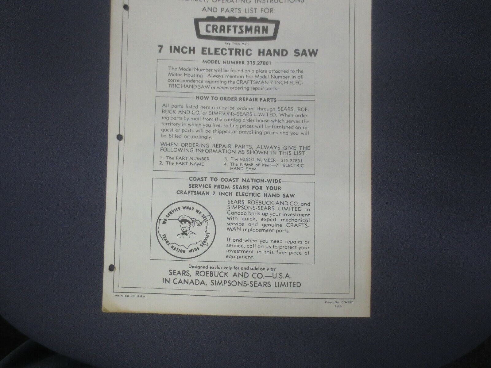 1966 Craftsman Assembly Operating Instructions & Parts List 7
