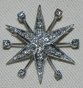 18ct white gold pendantbroach 6 pointed star set with 31 diamonds HVS  1950 - Stafford, United Kingdom - 18ct white gold pendantbroach 6 pointed star set with 31 diamonds HVS  1950 - Stafford, United Kingdom