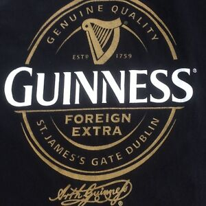 Guinness Foreign Extra Stout Beer Genuine Authentic Black T-Shirt Men/'s L NWOT