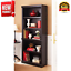 "71"" tall library bookcase display storage 5 shelf bookshelf, black"