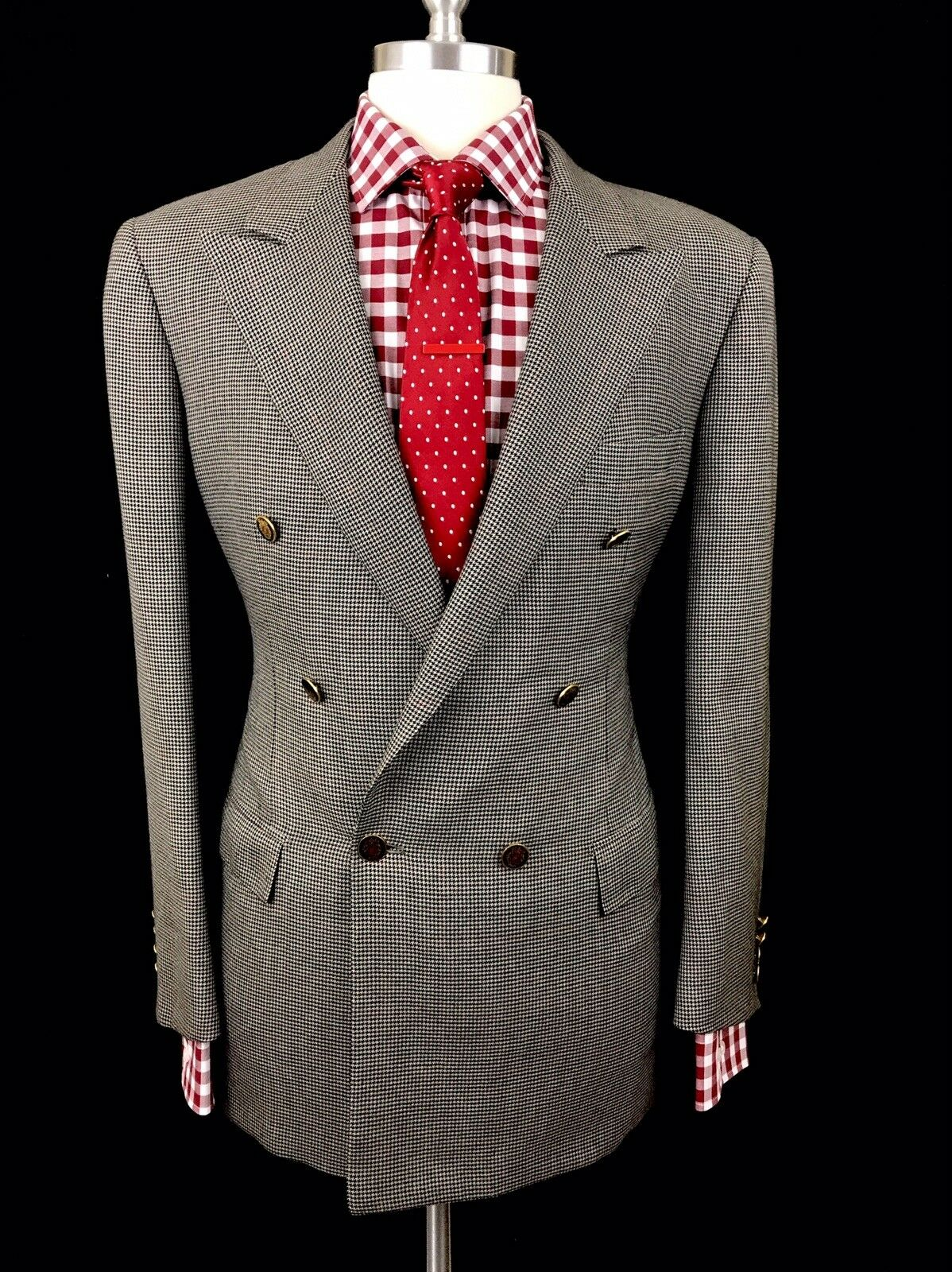 BRIONI GREY HOUNDSTOOTH DOUBLE BREASTED PURE CASHMERE EMBLEM METAL BUTTONS 42R