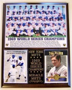 Miracle Mets 1969 World Series Champions Photo Card Plaque