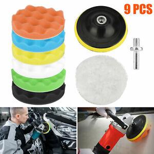 4 Inch 9 PCS Car Buffing Pads Polishing for Drill Sponge Kit Set Waxing Foam