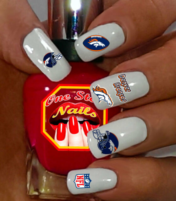 Denver Broncos Nail Art Waterslide Nail Decals. Set of DB001-55 - Set Of 55 NFL Denver Broncos Nail Art Water Decals. Top Quality