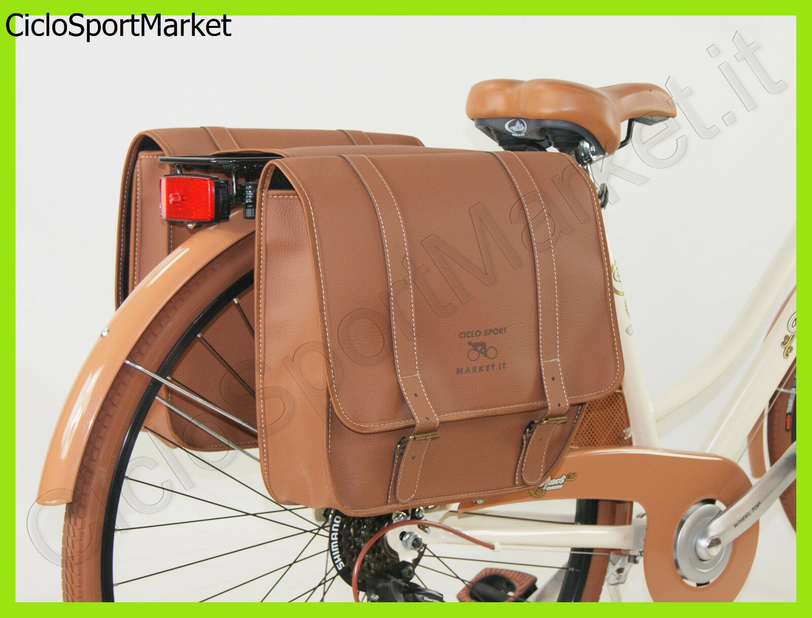 Bag DOUBLE Eco-Leather   Simil leather REAR Brown - City Bike - Rod