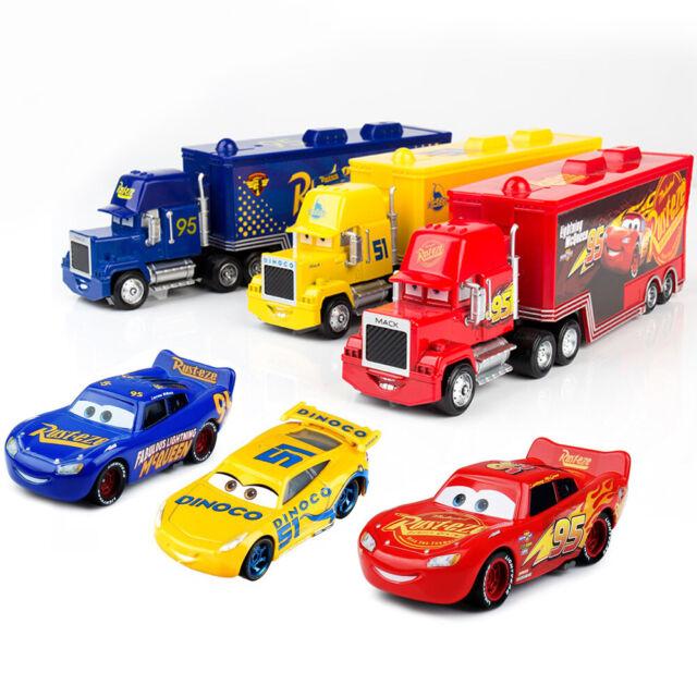 2pcs Kids Cars Toys Hauler Lightning Mcqueen Car Set Rusteze Mack Truck Red Gift