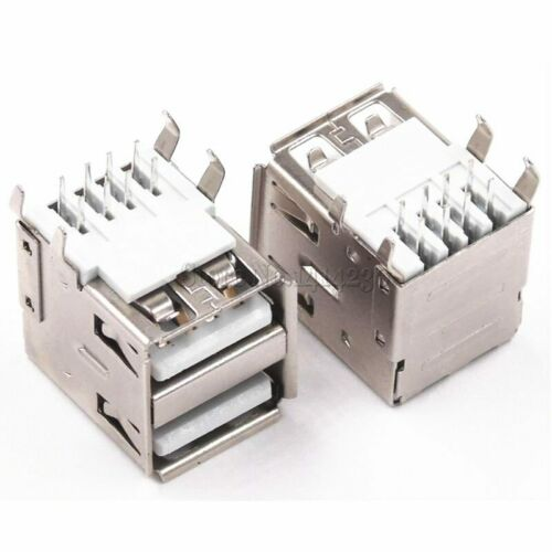 10Pcs Double USB Type A Female Solder Jacks Connector PCB Socket USB-A type 90